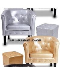 Fotelja + tabure rustikalni (Chesterfield) 4 boje -, DOSTAVA