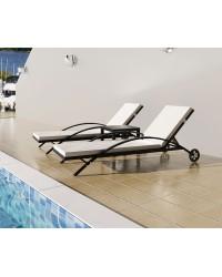 KOMPLET - LEŽALJKE LOUNGE RATAN za plažu, bazene ..  2 ležaljke + stol !!