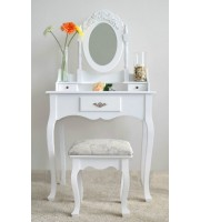 Kozmetički stol Shabby chic sa ogledalom i stolicom - Toaletni stol za šminkanje